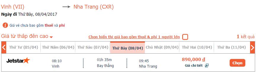 Giá vé máy bay từ Vinh đi Nha Trang